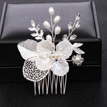 Tiara Hair-Comb Wedding-Hair-Ornaments Hairpins Jewelry Flower Pearl Bride Silver-Color