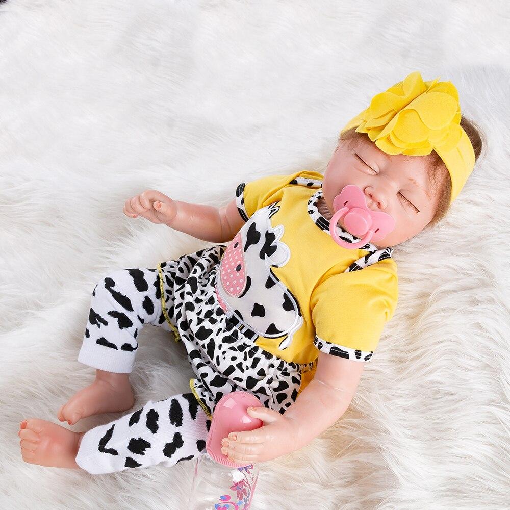 Sleeping Dolls Cow 55cm Silicone Reborn Newborn Baby Doll Reborn Christmas Gifts Toys For Girls Realistic Soft