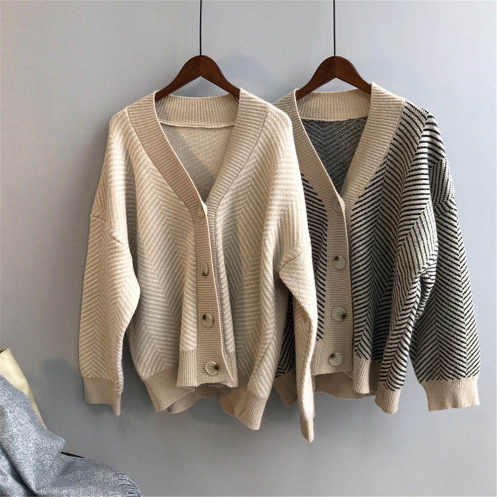 Winter Knitted Sweater Cardigans Women 2020 Spring Open Stitch Loose Knit Cardigans Pink Jumper Striped Sweater Coat Femme 9220 (1)