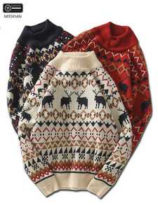 Vintage Sweater Jersey Knitwear Joker Pull-Homme Half-Turtleneck Deer Printed Christmas Men