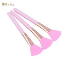 1pcs Soft Silicone Facial Face Mash Pink Fan Shaped Makeup Brush Women Mixing Sk