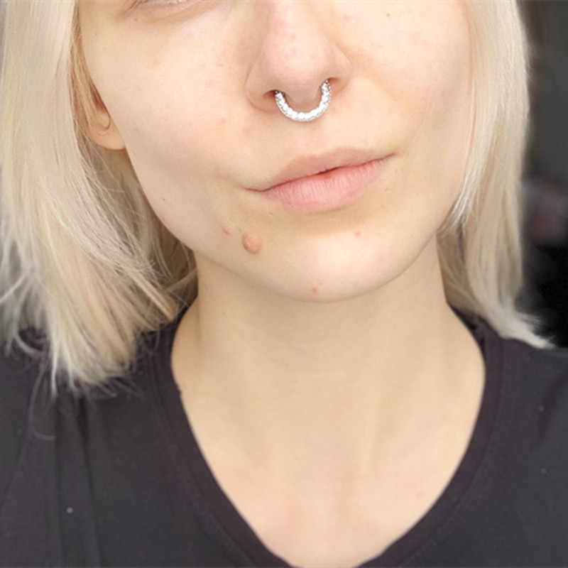 1piece Flower Fake Nose Piercing Ring Hoop Heart Clip On Nose Ring