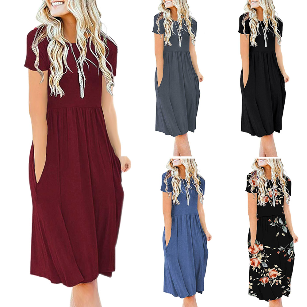 Women Casual Summer High Waist Dress Round Neck Short Sleeve Dresses with Pockets  NGD88