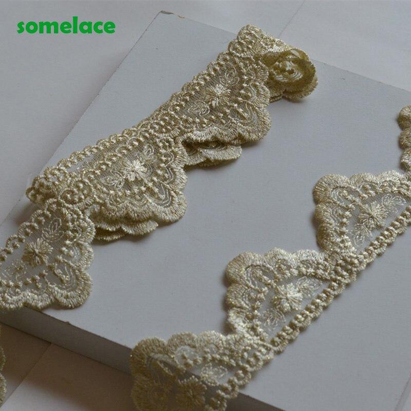 5yds/lot luz ouro laço tecido 5cm padrão de largura ondulado forma bordado guarnição do laço para vestuário e decoração do casamento