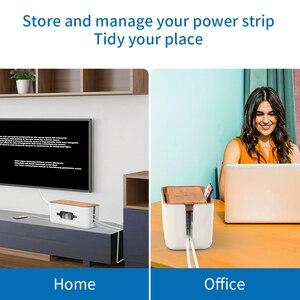 Image 5 - NTONPOWER caja de almacenamiento organizadora de cables, caja organizadora de cables de plástico con soporte, caja de gestión de regleta para el hogar y la Oficina
