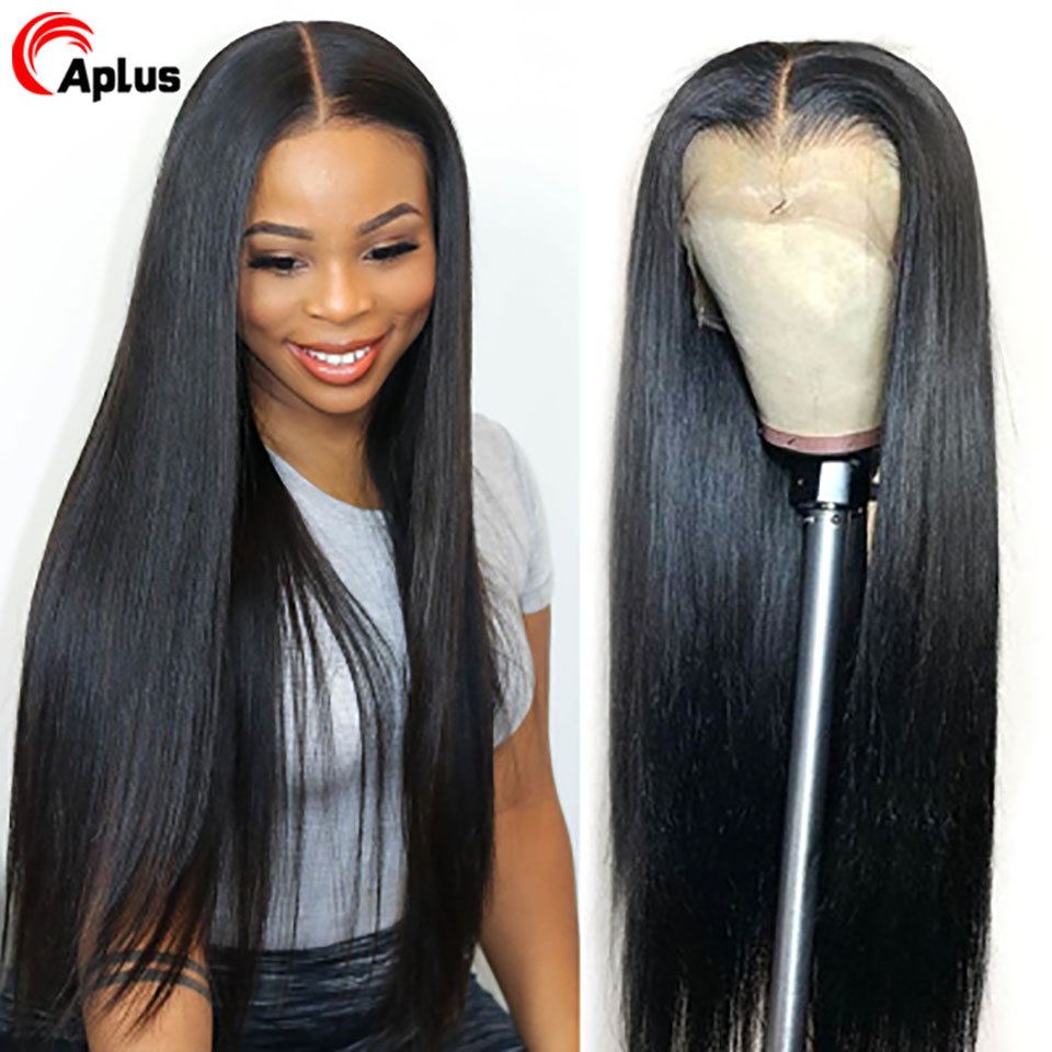 13x4 13x6 Lace Front Wig Straight 28 30 Inch Human Hair Wigs With Bangs Peruvian Pre Plucked 360 Lace Frontal Wigs Middle Part