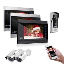 TMEZON 7 pulgadas Smart IP Video de la puerta del sistema de intercomunicación teléfono con 3 Monitor de visión nocturna + 1 timbre Cámara + 2 1200tvl Cámara