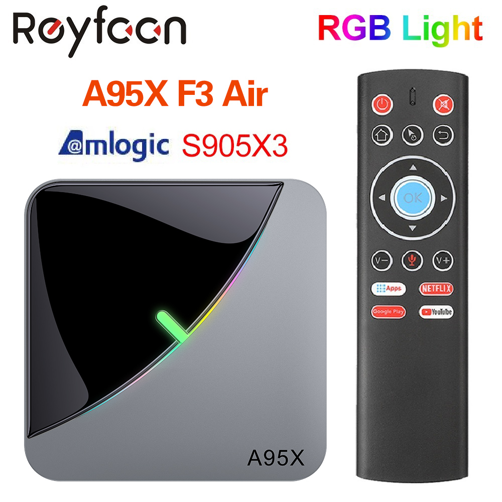 Android 9.0 RGB Light Smart TV Box Amlogic S905X3 USB3.0 1080P H.265 4K 60fps Wifi Google Play Netflix Youtube A95X F3 Air 8K