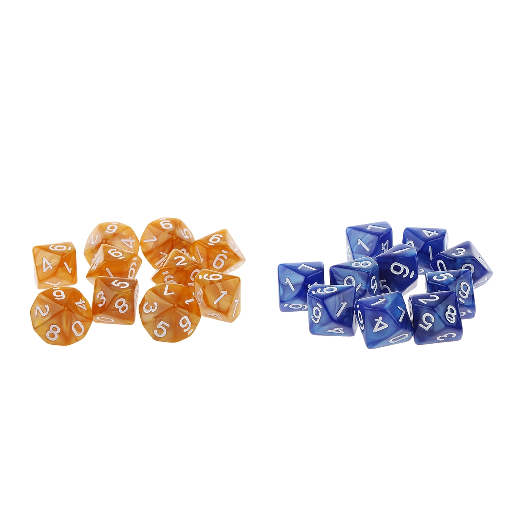 Pack 20pcs Ten Sided Dice D10 Playing RPG Party Game Dices Coffee And Blue