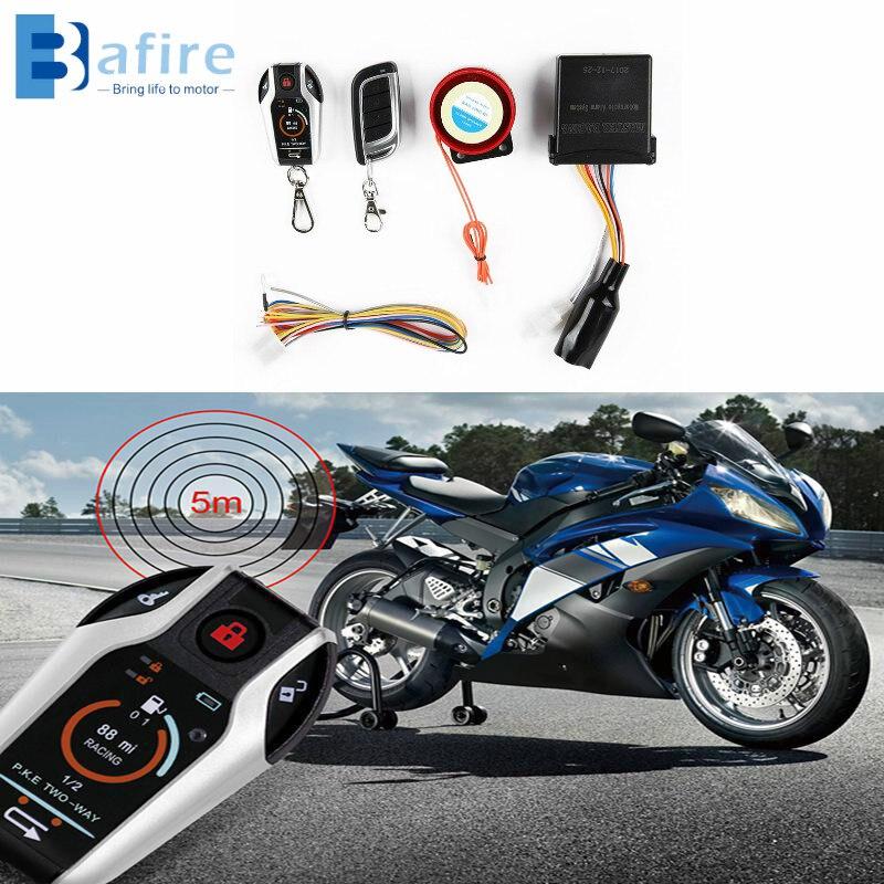 BAFIRE Two Way Motorcycle Alarm Engine Start 5 Meter Device Anti-theft System Scooter Burglary Vibration Alarm Remote Auto-lock