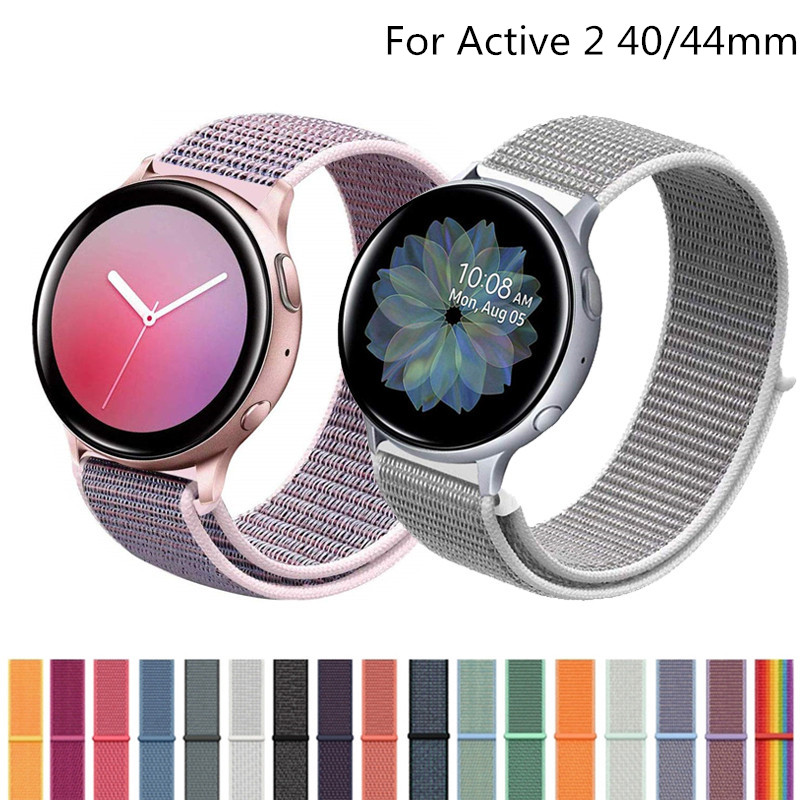 20mm 22mm Nylon Strap For Samsung Galaxy Watch Active 2 42mm 46mm Soft Breathable Replacement Watch Strap Sport Style Watchband