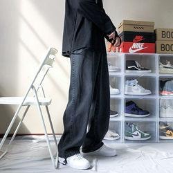 2020 Men's New Loose Black/blue Straight Pants Solid Color Casual Pants Baggy Homme Cargo Pocket Jeans Biker Denim Trousers