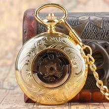 Vintage Automatic Mechanical Pocket Watch Open Face Roman Numerals Golden Pendant Chain Gifts for Men Women Reloj De Bolsillo