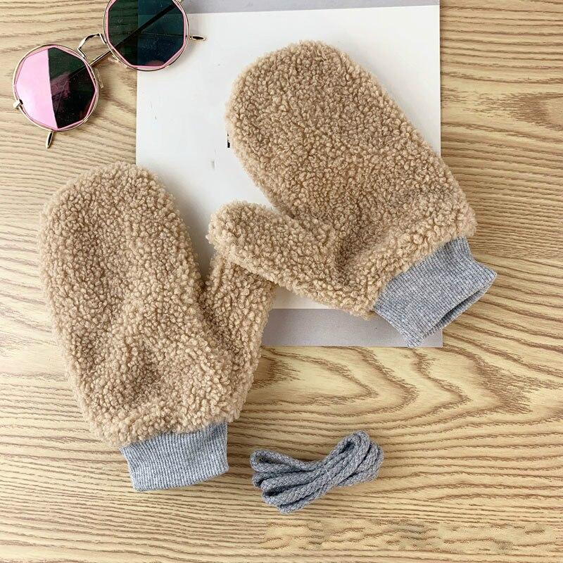 Gloves Woman Winter Plush Thickening Wind-proof Warm Cute Cartoon Student Gloves womens gloves winter