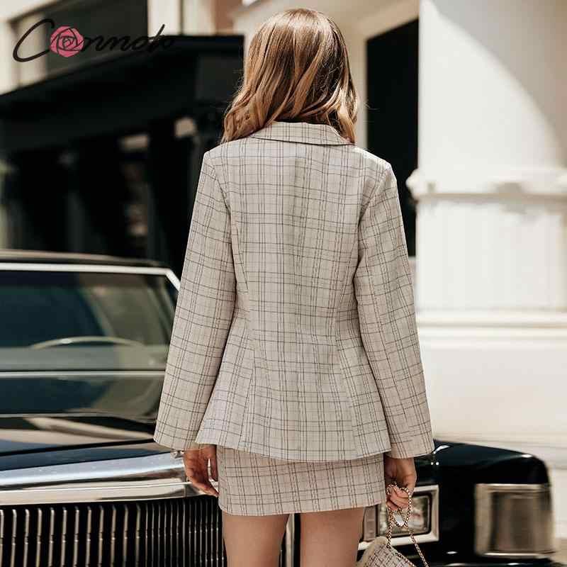 Conmoto, осень 2019, женский модный Блейзер, юбка, костюм, женский, с разрезом, рукав, в клетку, Блейзер, для девушек, с высокой талией, нестандартные юбки, комплект, платье