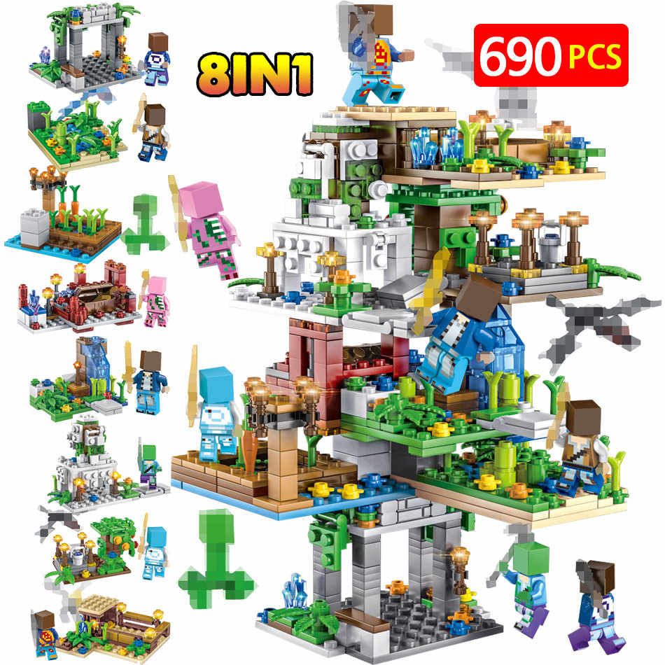 690PCS My World Creator Hanging Garden Tree House Legoing Mountain Cave 21137 Building Blocks Figure Bricks Toys for Kids Gift