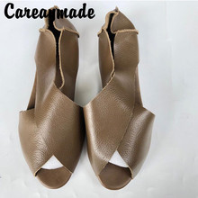 Careaymade-2019 new real leather summer womens sandals, fish mouth comfortable beef sole single shoes,4 colors