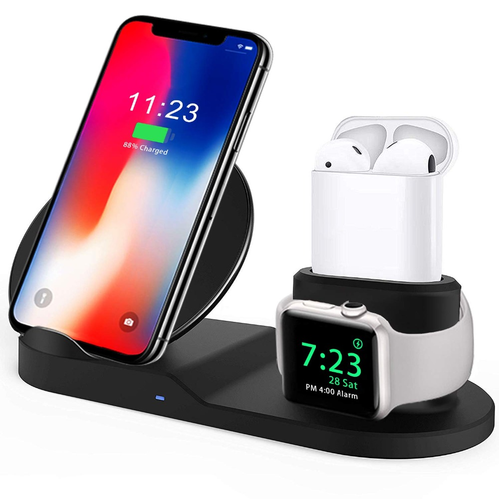 For Apple watch 4 5 3 2 stand 3 In 1 Qi Wireless Charger Fast Charging For iPhone XS Max XR X 8 Plus Samsung S9 S8 Note 9 Airpod-in Watch Stents from Watches
