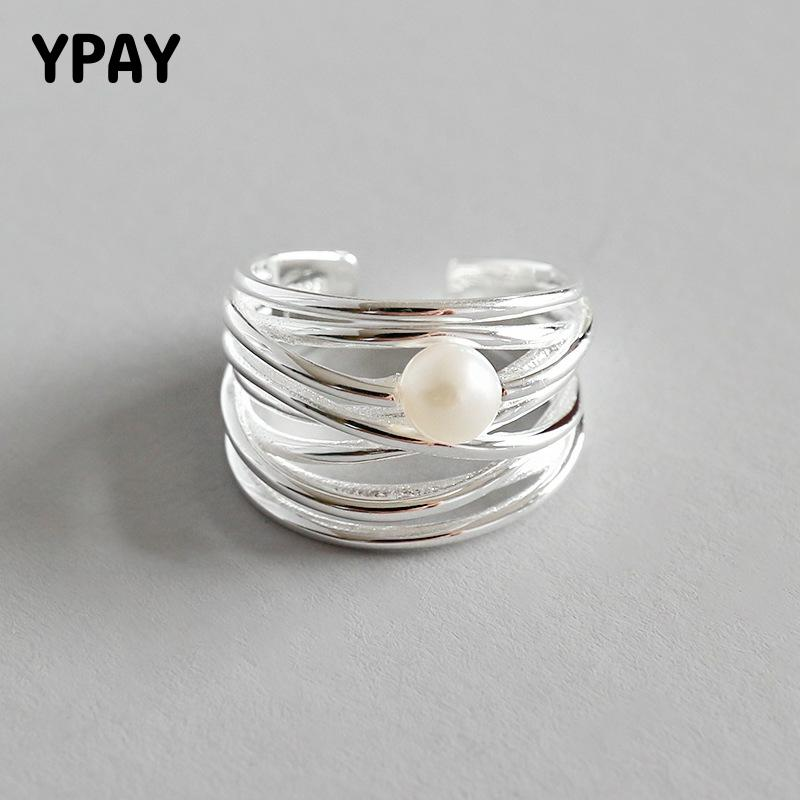 YPAY Genuine 925 Sterling Silver Adjustable Ring Women Personality Irregular Multi-layer Natural Freshwater Pearl Rings YMR593