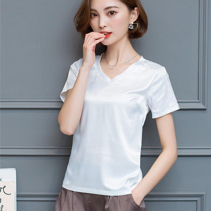 Korean Silk Blouses Women Satin Blouse White Shirt Summer Woman V-neck Solid Blouse Tops Plus Size Blusas Mujer De Moda 2020 XXL