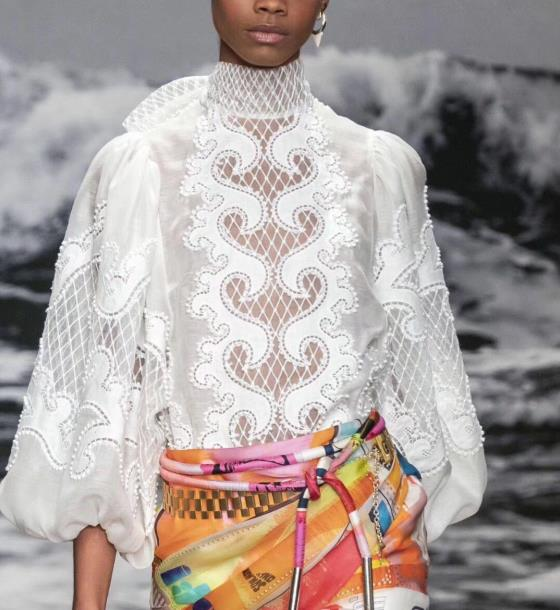 2019 automne nouvelle arrivée blanc dentelle blouse manches bouffantes sexy évider femmes blouse et chemises plage vacances vêtements