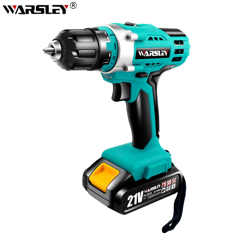 Rechargeable Electric Screwdriver Drill 21V Lithium Battery Cordless Drill Screwdriver Two Speeds  Torque Hand-held Power Tools