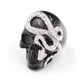 Bague tête de mort serpent
