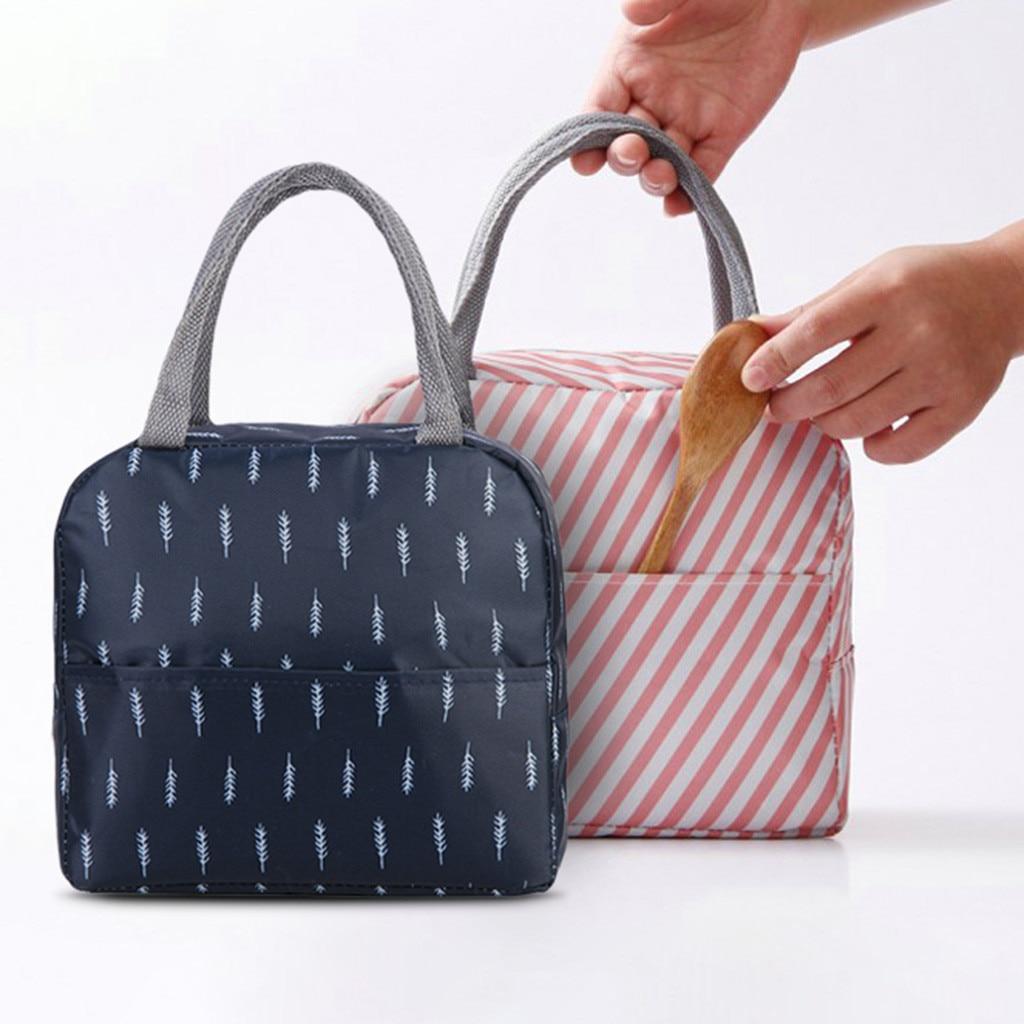 Portable Women Student Lunch Bag Totes Waterproof Thermal Lunch Box Organizer Wide Open Bag For Women Handbags Bolsa Termica