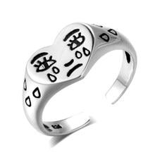 Choro rosto forma do coração lágrimas anel neutro retro aberto ajustável anéis moda masculino feminino jóias prata