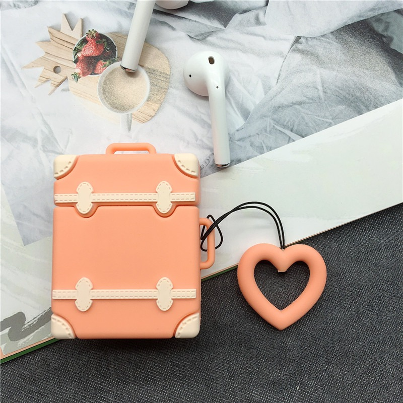 Cute Colorful Luggage AirPods Case For Protective Cover Wireless Earphone Accessories High-quality Silica