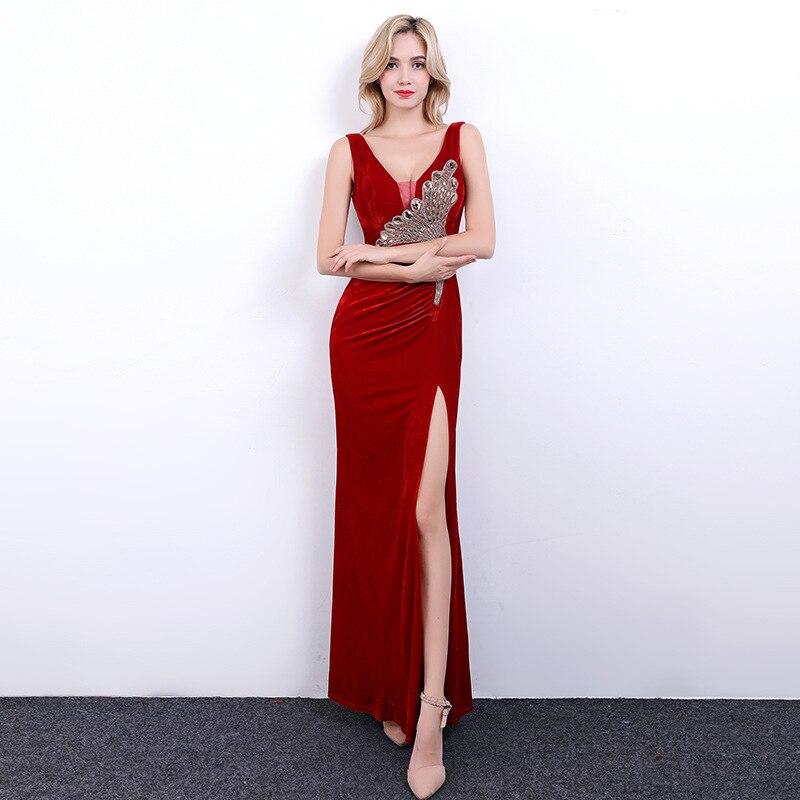 Nightclub Dress 2019 Autumn And Winter New Style Evening Show KTV Slim Fit Slimming Dress Sexy Slit Evening Gown Women's