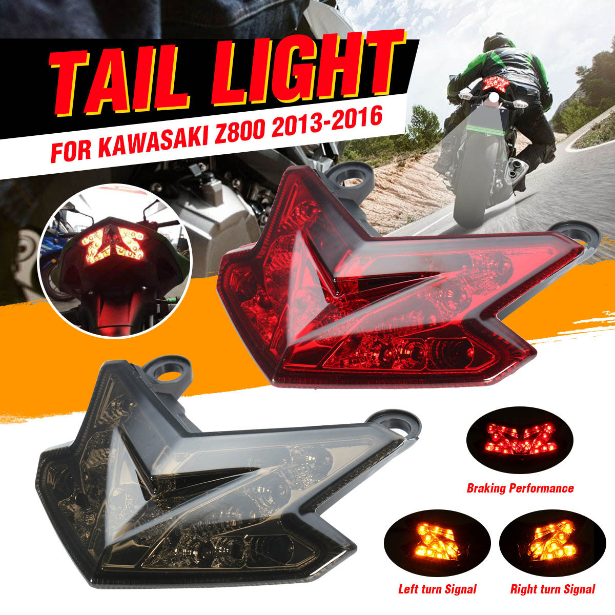 12V Rear Motorcycle Tail Light LED Brake Lamp Turn Signal License Integrated Light For Kawasaki Z800 2013 2014 2015 2016 ZX-6R