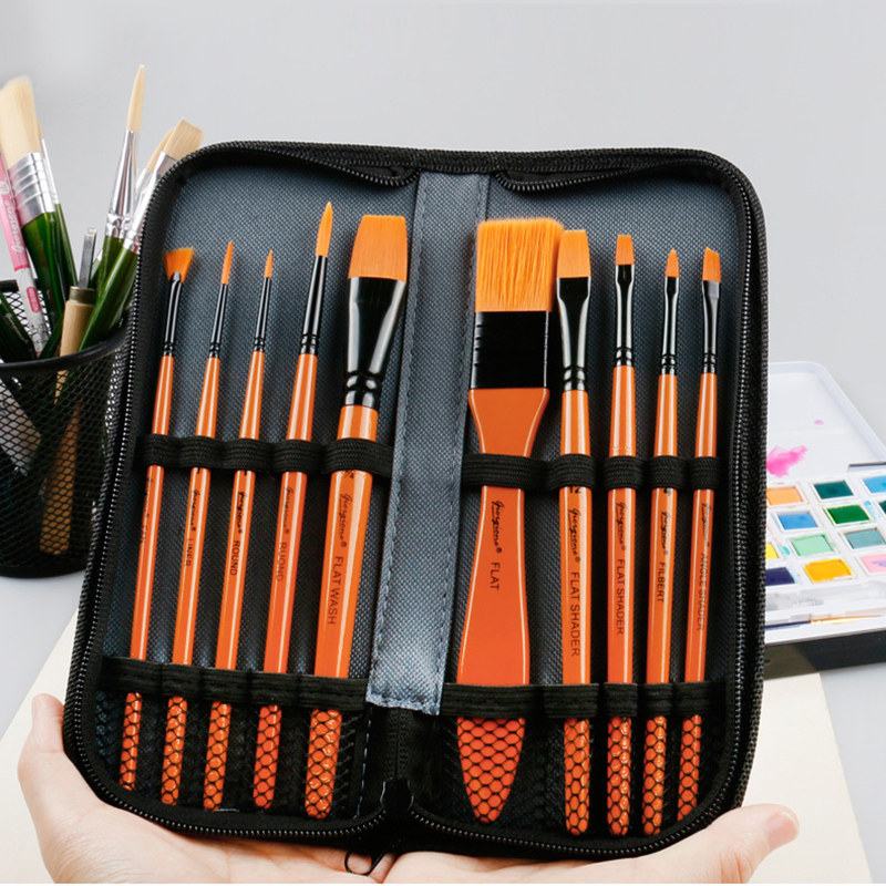 11Pcs Mixed Paint Brushes Set With Canvas Zipper Bag For Oil Acrylic Watercolor Painting Nylon Hair Multifunction Drawing Brush