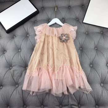 European and American parent-child outfit 2020 spring and summer new styles  Short - sleeved flower tassel net  Girl's dress