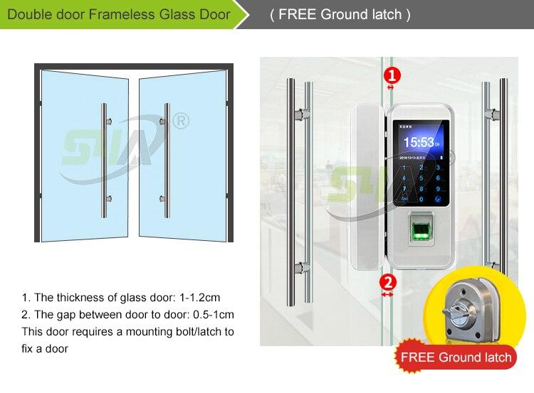 4.Double door Frameless Glass Door( FREE Ground latch )