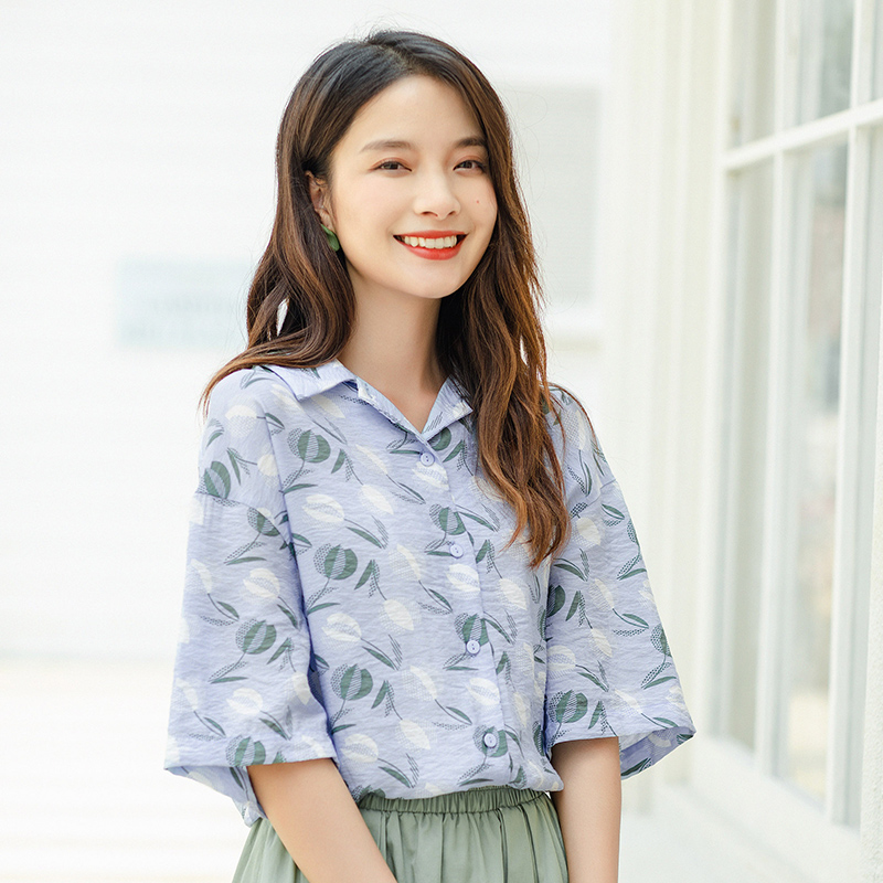 INMAN 2020 Summer New Arrival Cool Pure And Fresh Shivering Leaf Loose Casual Half Sleeve Blouse