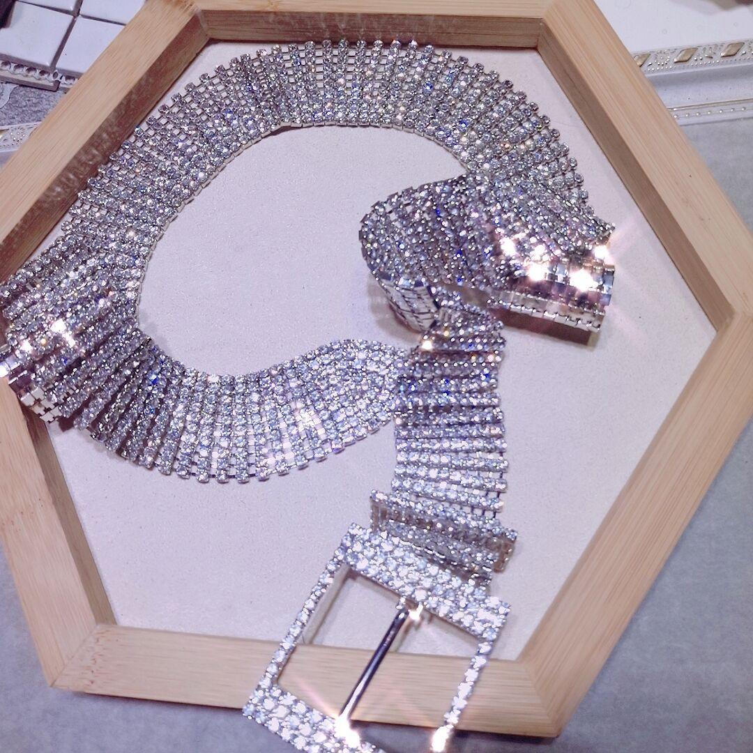 Women Waist-Belt Luxury Rhinestone Silver Bright 105cm Chain Belt For Women Female Party Wedding Crystal Diamond Barry.Wang1017