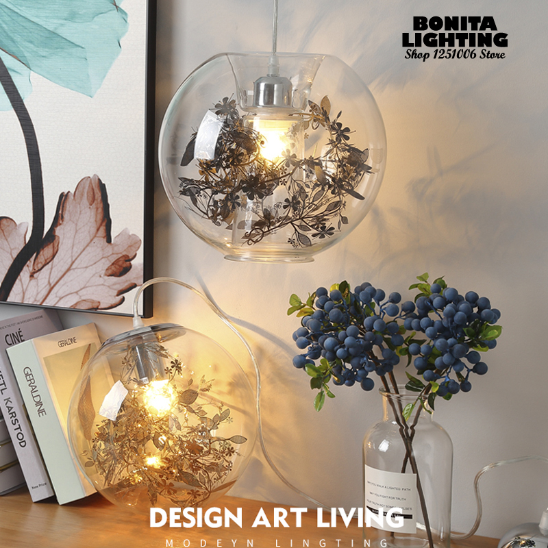 Clear Glass Ball modern hanging lamps Stainless steel flowers Leaves Golden Silver glass pendant lighting Fish tank pendant lamp