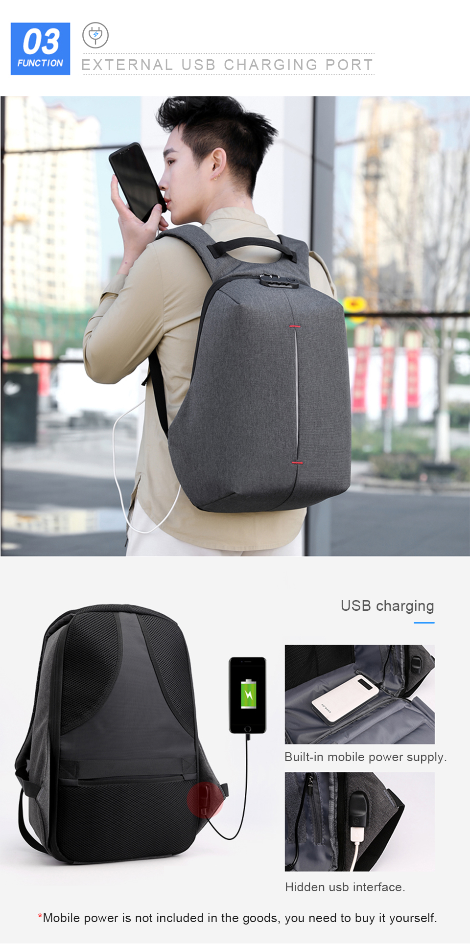 Laptop Backpack 15.6 Inch Notebook Back Pack Anti Theft Business Men Travel Bags Waterproof Male USB Charging Student Bagpack (5)