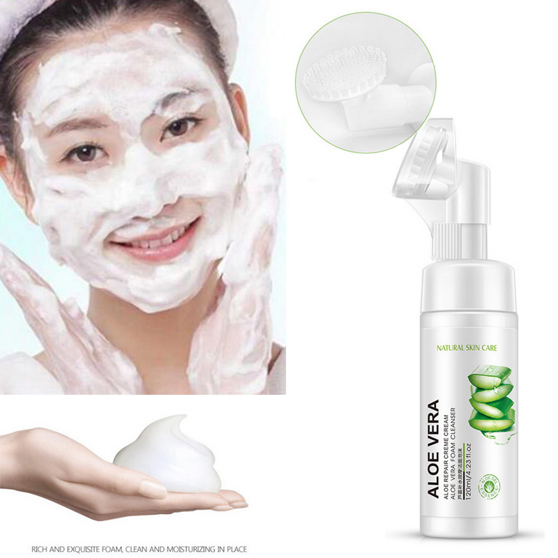 2019 Skin Care Aloe Facial Cleanser foam Anti Aging Natural Gel Daily Face Wash Exfoliating Deep Cleansing Hydration Blackheads image