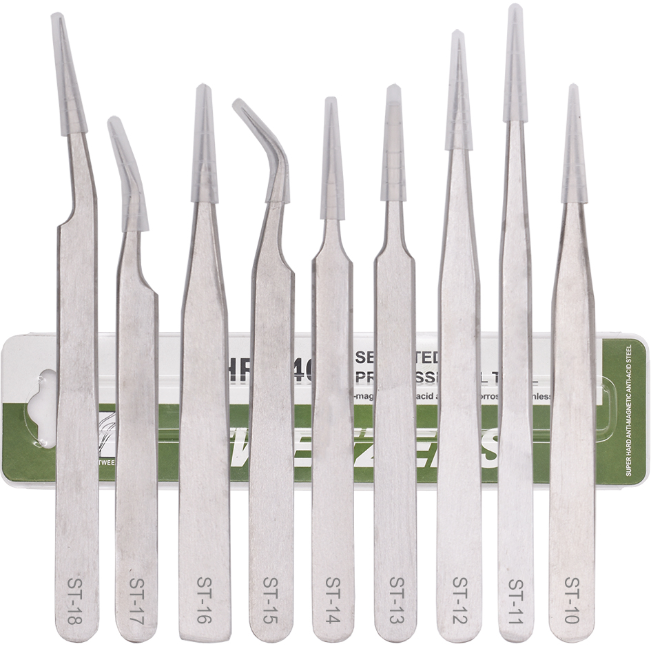 Wholesale Green Package ST - 10 <font><b>11</b></font> 12 13 14 15 16 17 18 Silver Stainless Steel VETUS Tweezers Repair Tools 200pcs/lot image