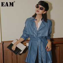 [EAM] Women Blue Bandage Big Size Leather Trench New Lapel Long Sleeve Loose Fit