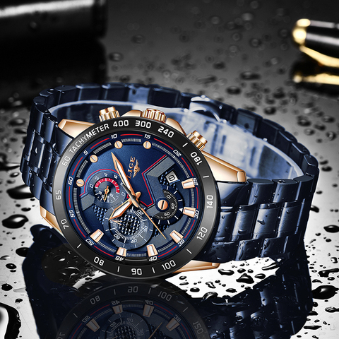 2019 New Mens Watches LIGE Top Luxury Brand Business Blue Stainless Steel Quartz Watch Mens Casual Waterproof Date Chronograph Karachi