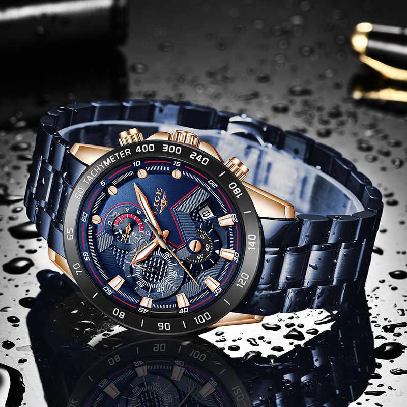 2019 nuevos relojes para hombres LIGE marca de lujo Superior de Negocios Azul acero inoxidable reloj de cuarzo para hombre Casual impermeable cronógrafo de Fecha