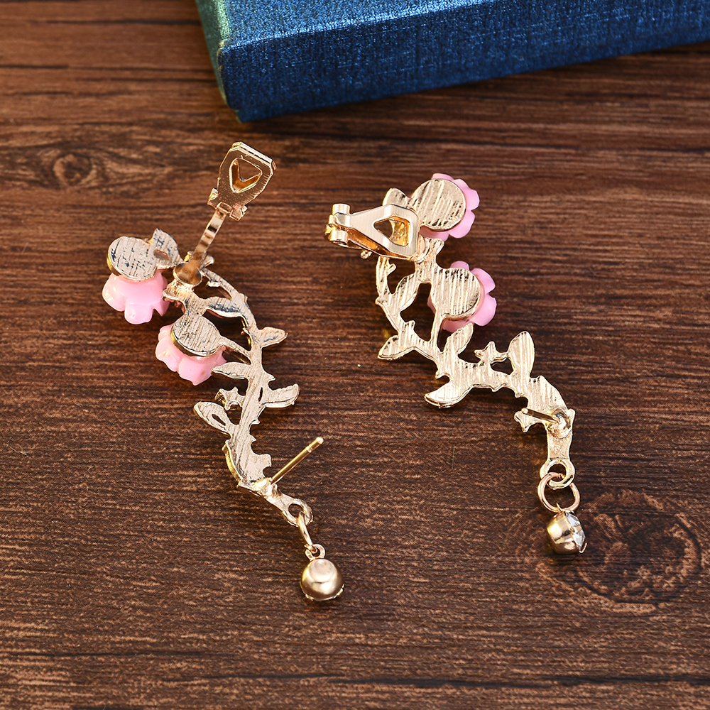 New Fashion Lady Gold Pink Rose Leaf Flower Ear Stud Cuff Earring Women Jewelry Pendientes Princesas Boucle D'oreille Cristal 5