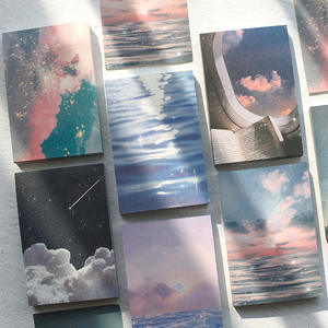 100 Sheets Cute Notepad Ins Scenery Styles Memo Pad Art Dusk Sky Sea Diy Non-sticky Note Material Paper Stationery Office Supply
