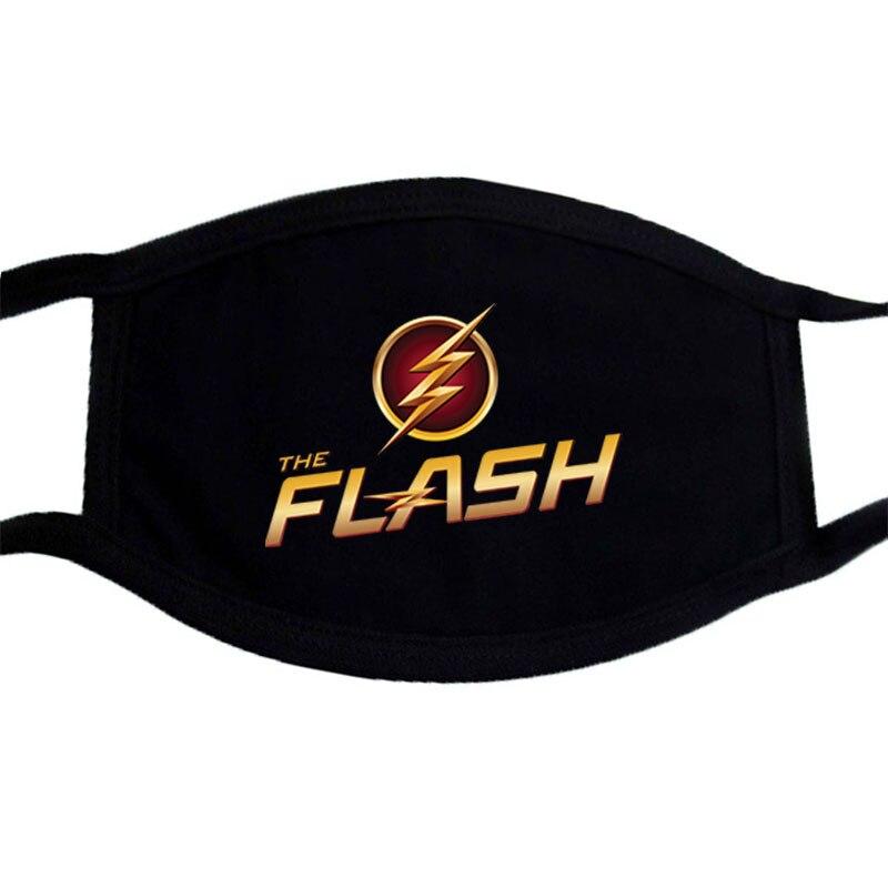 The Flash Man Superhero Print Mask Face Winter Keep Warm Black Bilayer  Unisex Masks Washable Dustproof Mouth Muffle Mask