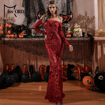 Missord Women Long Sleeve Sexy Off the Shoulder Evening Party Dress Vintage Red Christmas Dress Sequin Maxi Dresses FT8249 missord 2020 sexy off the shoulder sequin party dress women high split maxi dress long sleeve party bodycon dress vestidos m0806