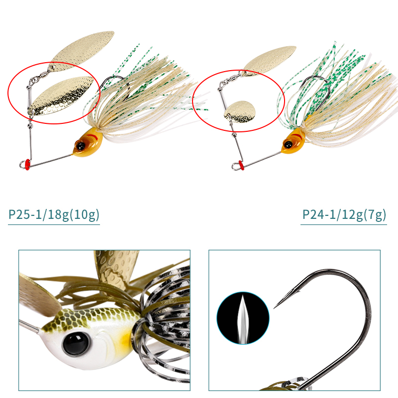 Image 4 - TSURINOYA 4 Pieces Spinner Bait Head Weight 7g/10g Artificial Hard Fishing Lure Blades Hooks Metal Spoons with Rotate Sequins-in Fishing Lures from Sports & Entertainment