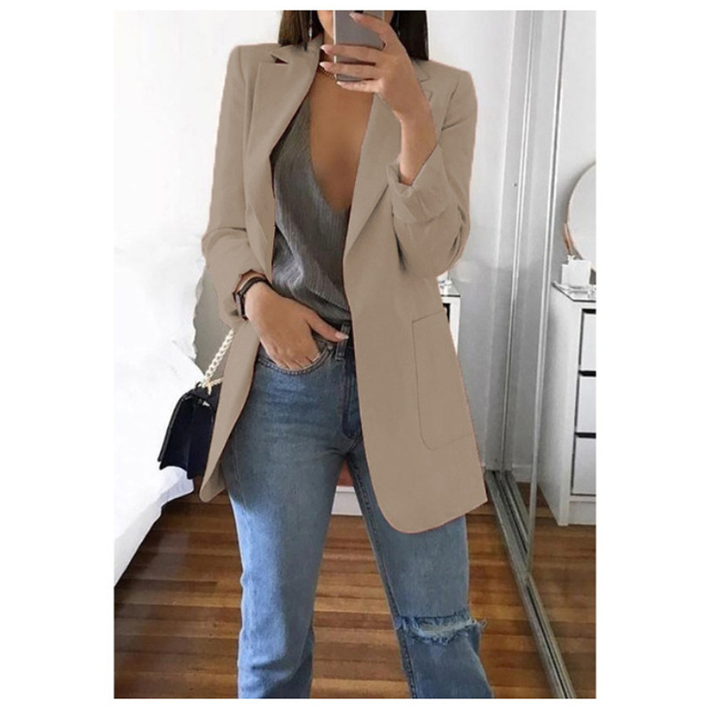 New Women Casual Long Sleeve Solid Color Turn-down Collar Coat Lady Business Jacket Suit Coat Slim Top Women Blazers Female 2019